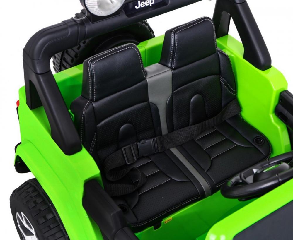 Masinuta electrica Jeep Wrangler Rubicon Verde 4x4 cu telecomanda si scaun piele - 2