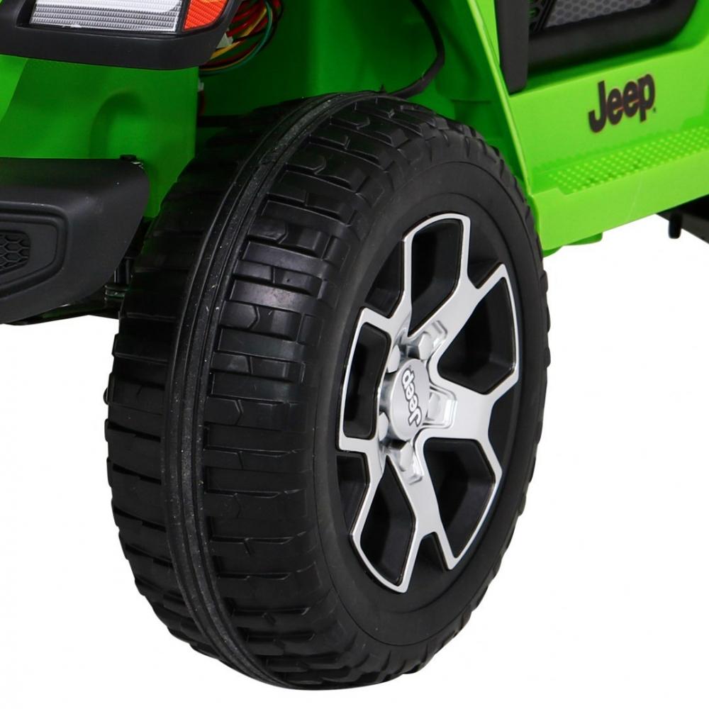 Masinuta electrica Jeep Wrangler Rubicon Verde 4x4 cu telecomanda si scaun piele - 3