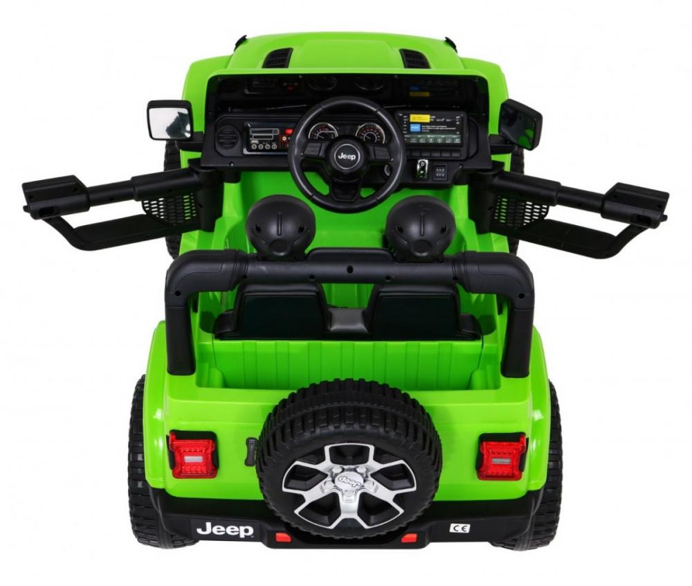 Masinuta electrica Jeep Wrangler Rubicon Verde 4x4 cu telecomanda si scaun piele - 4