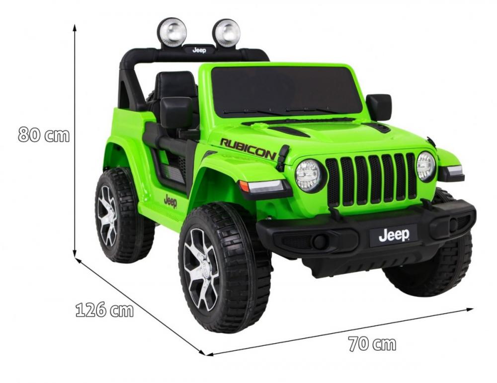 Masinuta electrica Jeep Wrangler Rubicon Verde 4x4 cu telecomanda si scaun piele - 6