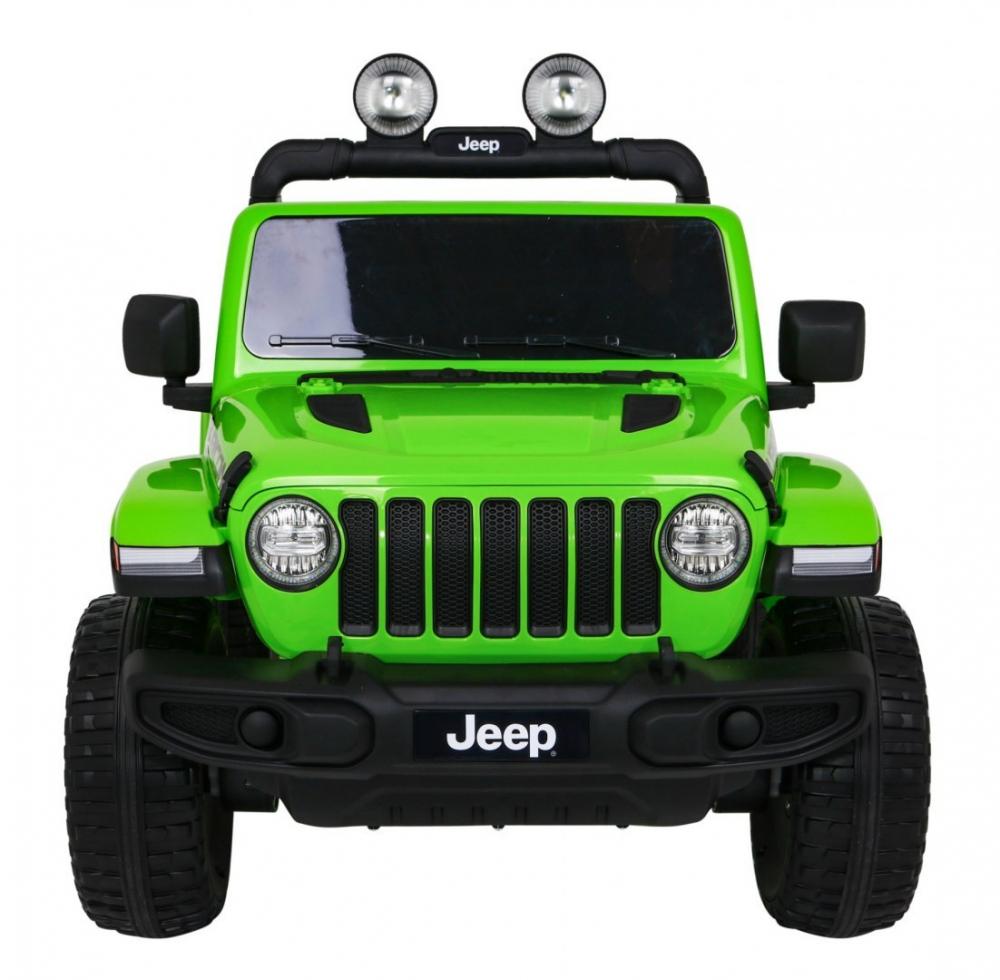 Masinuta electrica Jeep Wrangler Rubicon Verde 4x4 cu telecomanda si scaun piele - 7