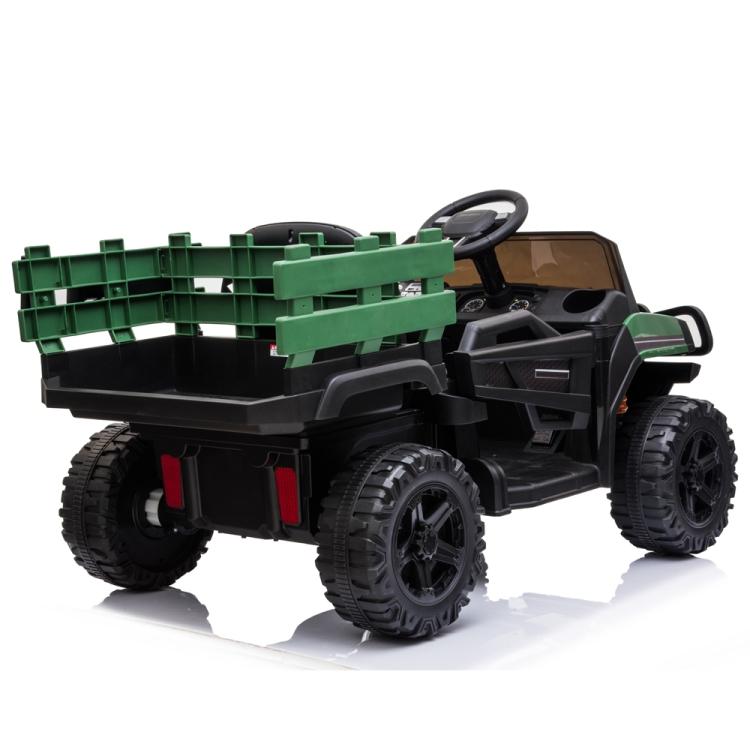 Masinuta electrica Off Road Green Army cu scaun de piele si roti EVA