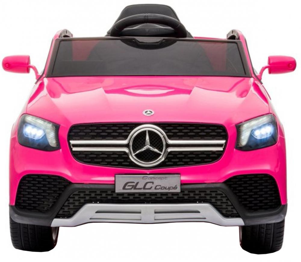 Masinuta electrica cu roti din cauciuc si scaun piele Mercedes-Benz GLC Coupe Pink