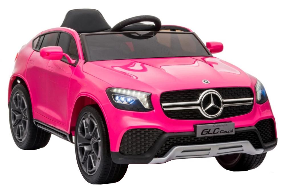 Masinuta electrica cu roti din cauciuc si scaun piele Mercedes-Benz GLC Coupe Pink - 1