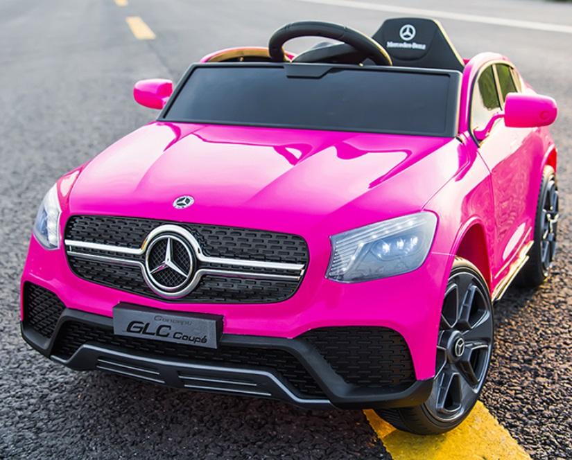 Masinuta electrica cu roti din cauciuc si scaun piele Mercedes-Benz GLC Coupe Pink - 2