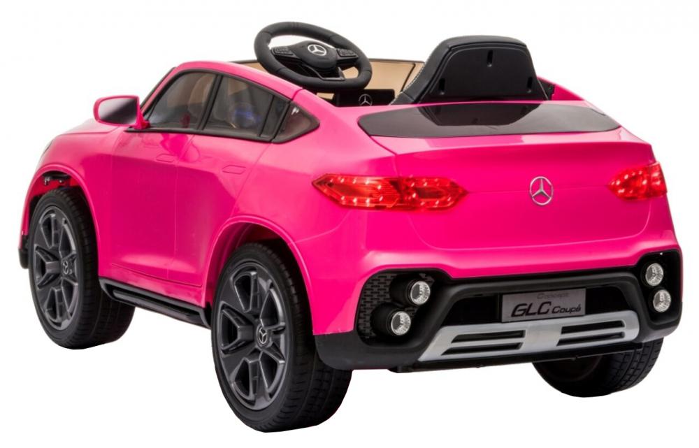 Masinuta electrica cu roti din cauciuc si scaun piele Mercedes-Benz GLC Coupe Pink - 4