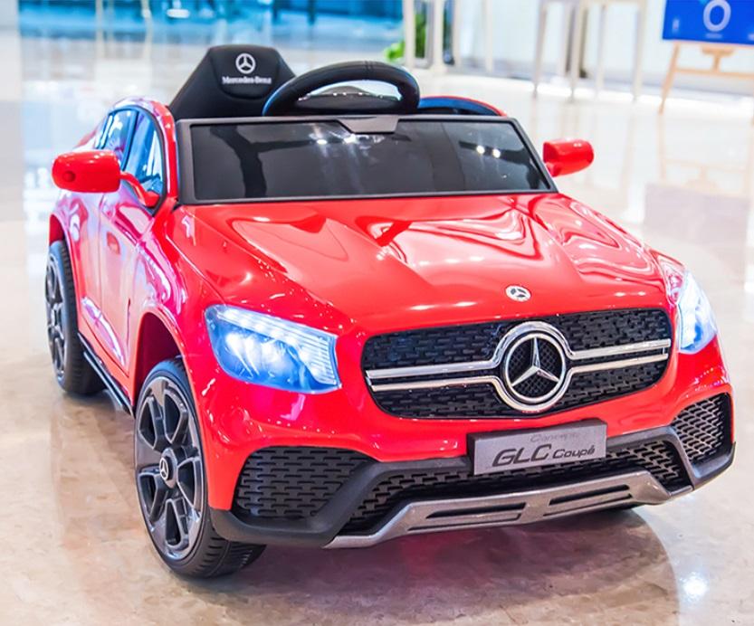 Masinuta electrica cu roti din cauciuc si scaun piele Mercedes-Benz GLC Coupe Red - 6