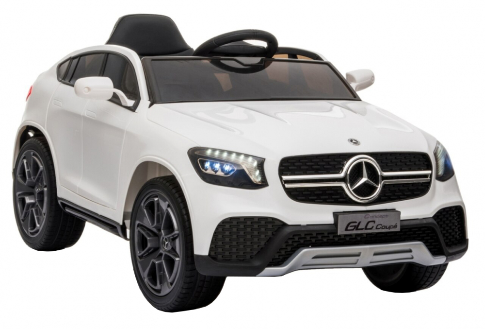 Masinuta electrica cu roti din cauciuc si scaun piele Mercedes-Benz GLC Coupe White - 5