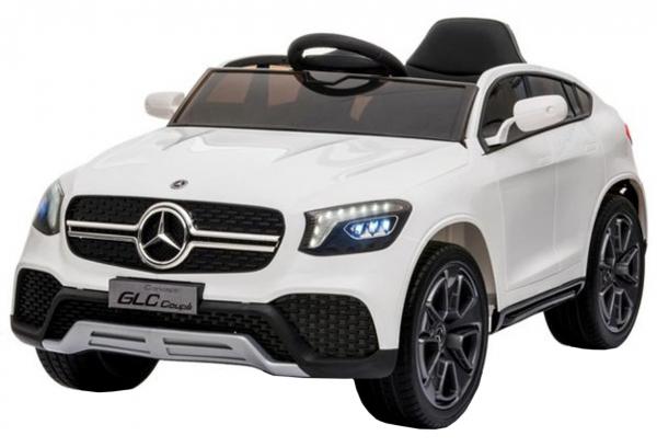 Masinuta electrica cu roti din cauciuc si scaun piele Mercedes-Benz GLC Coupe White