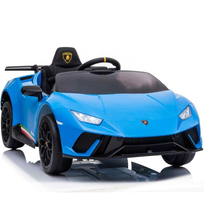 Masinuta electrica cu roti din cauciuc si scaun piele Lamborghini Huracan Blue - 5