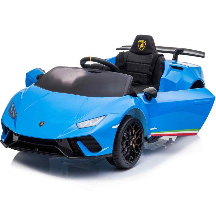 Masinuta electrica cu roti din cauciuc si scaun piele Lamborghini Huracan Blue - 6