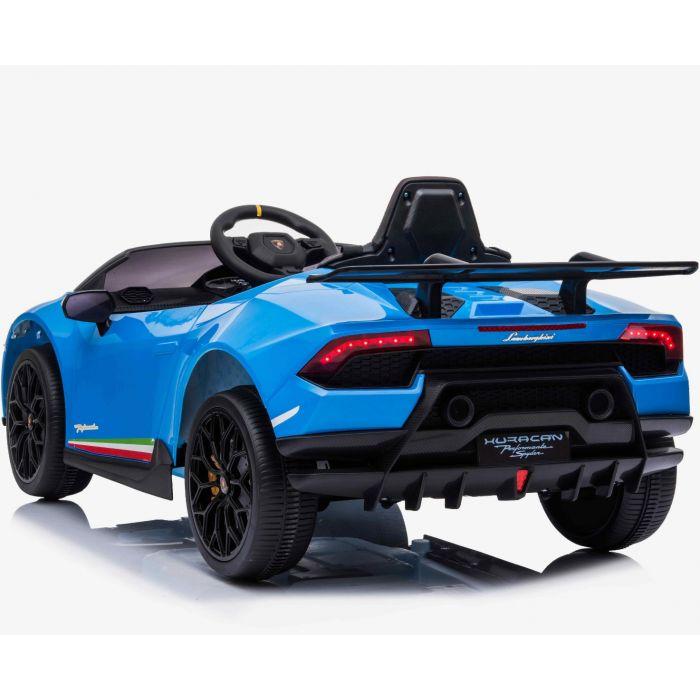 Masinuta electrica cu roti din cauciuc si scaun piele Lamborghini Huracan Blue - 7