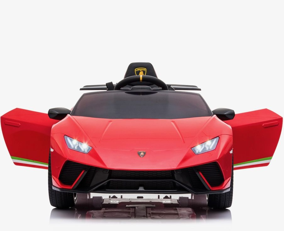 Masinuta electrica cu roti din cauciuc si scaun piele Lamborghini Huracan Red - 4
