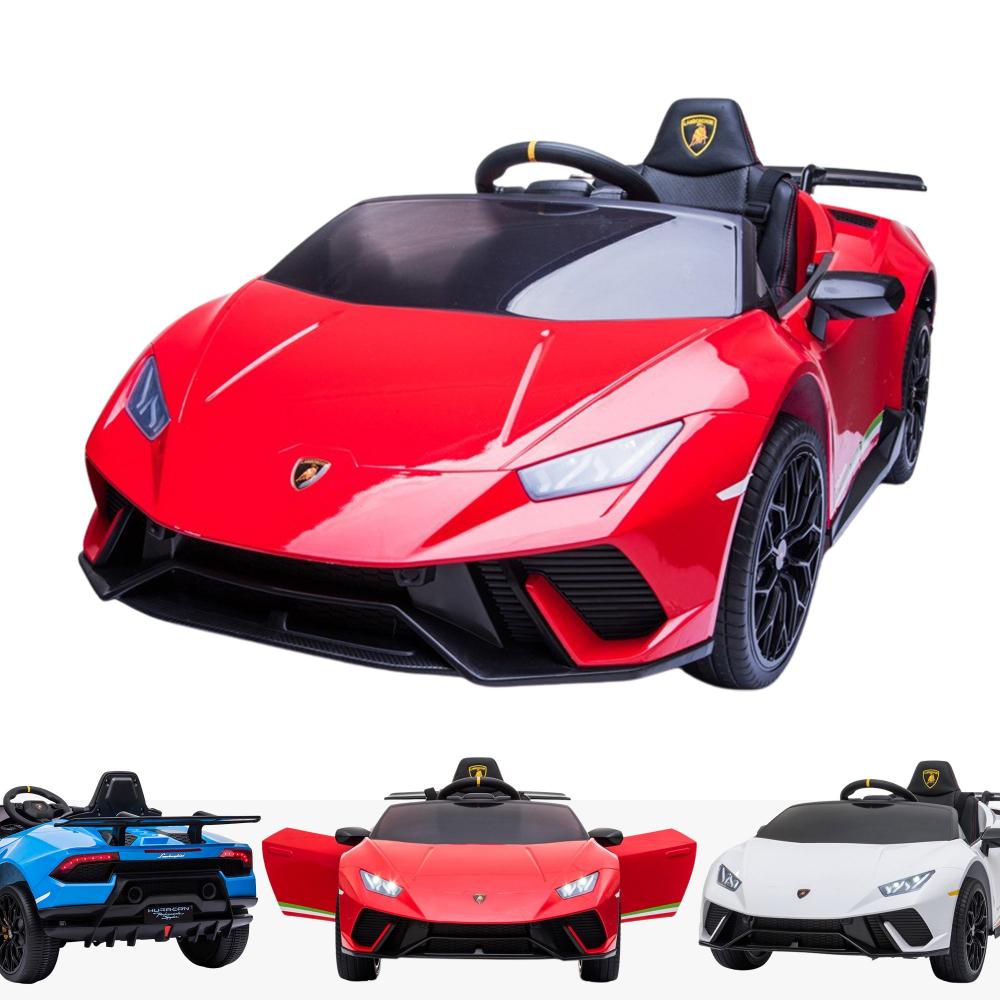 Masinuta electrica cu roti din cauciuc si scaun piele Lamborghini Huracan Red - 5