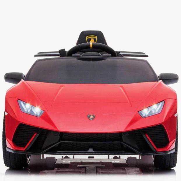 Masinuta electrica cu roti din cauciuc si scaun piele Lamborghini Huracan Red - 6