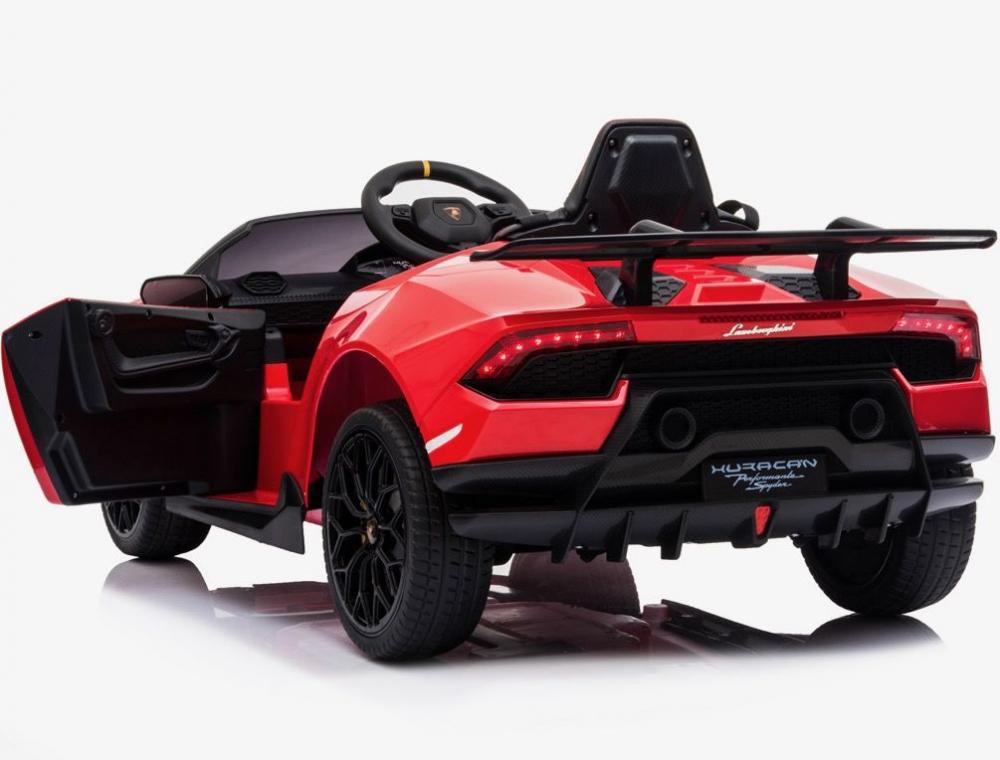Masinuta electrica cu roti din cauciuc si scaun piele Lamborghini Huracan Red - 7
