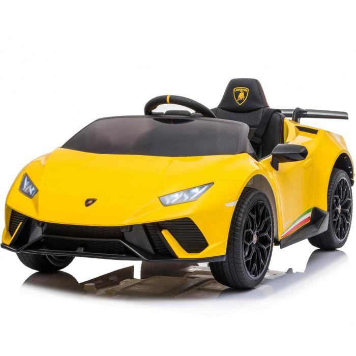 Masinuta electrica cu roti din cauciuc si scaun piele Lamborghini Huracan Yellow