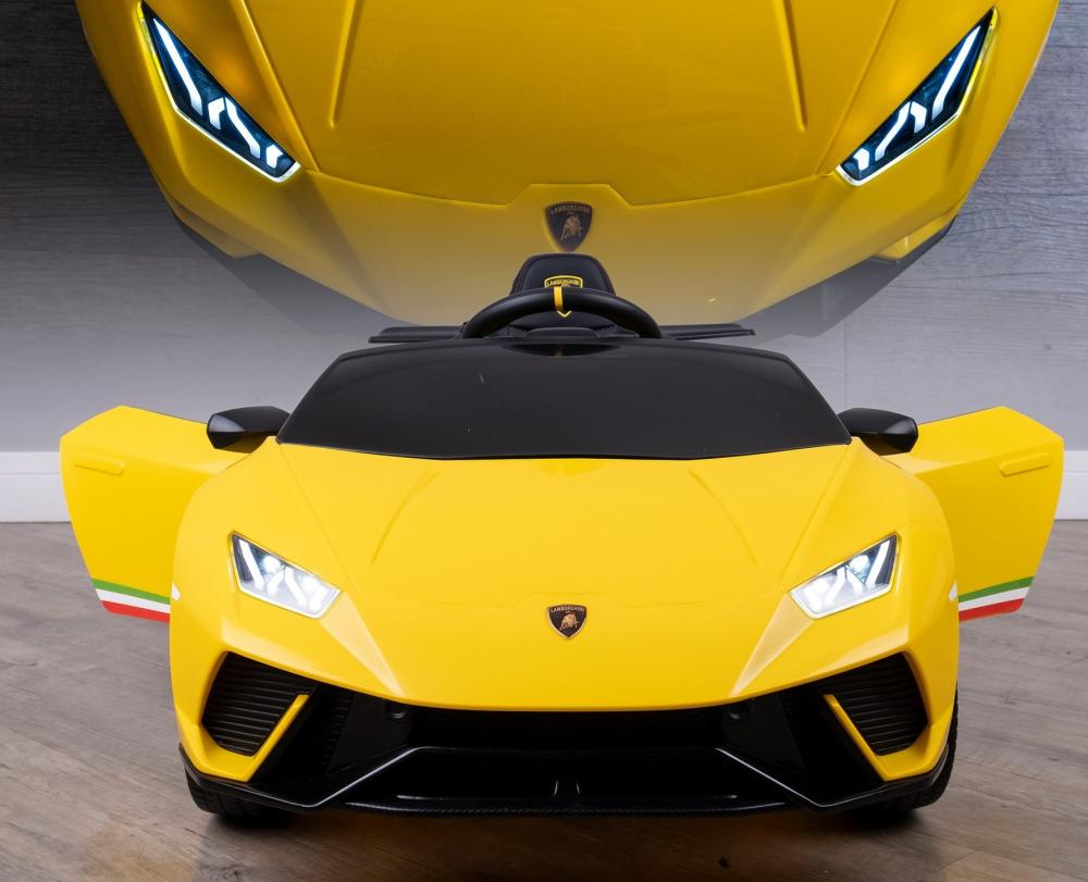 Masinuta electrica cu roti din cauciuc si scaun piele Lamborghini Huracan Yellow - 2