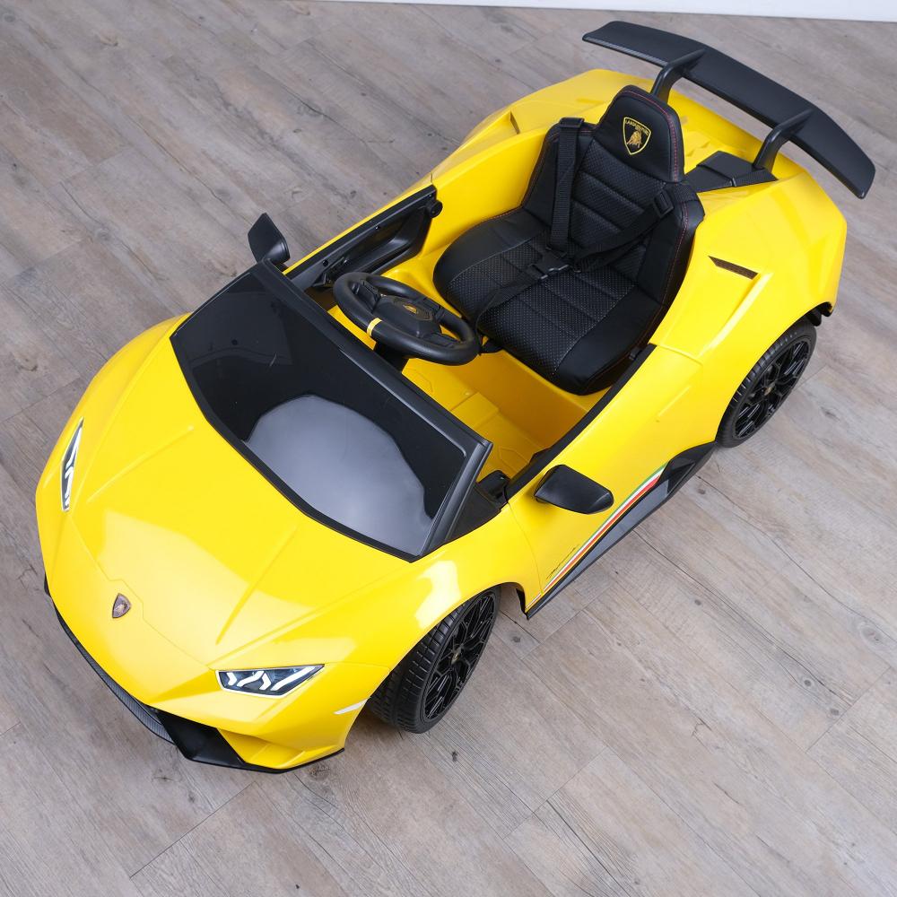 Masinuta electrica cu roti din cauciuc si scaun piele Lamborghini Huracan Yellow - 3