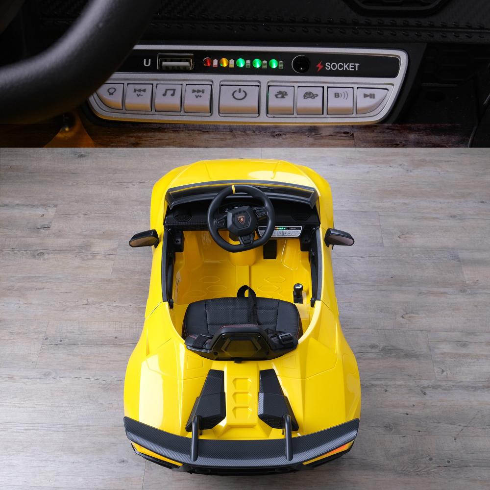 Masinuta electrica cu roti din cauciuc si scaun piele Lamborghini Huracan Yellow - 4