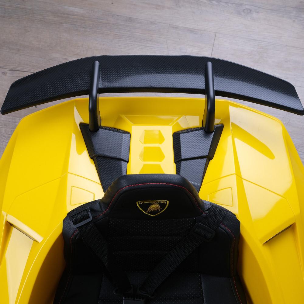 Masinuta electrica cu roti din cauciuc si scaun piele Lamborghini Huracan Yellow - 5