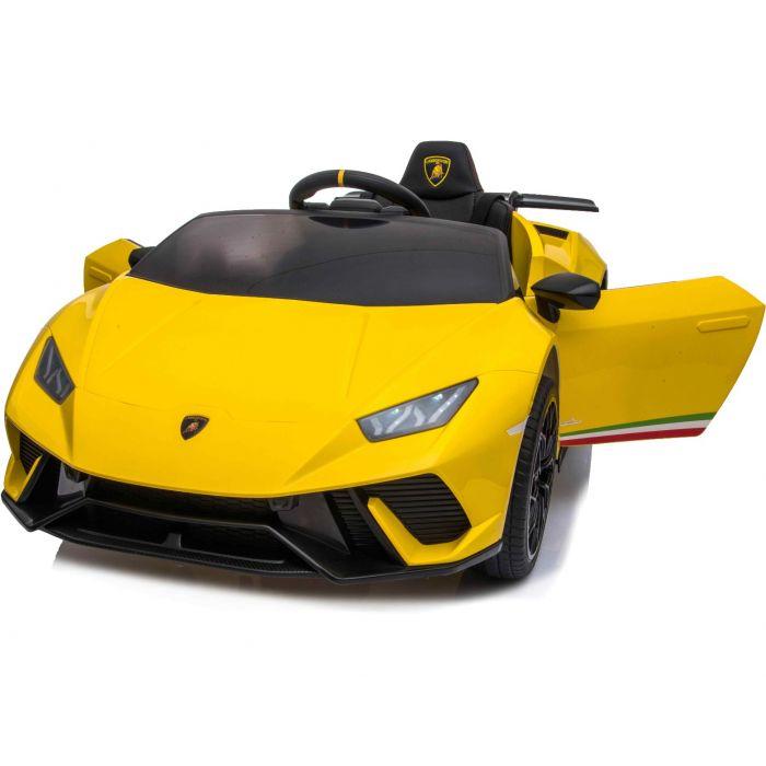 Masinuta electrica cu roti din cauciuc si scaun piele Lamborghini Huracan Yellow - 6