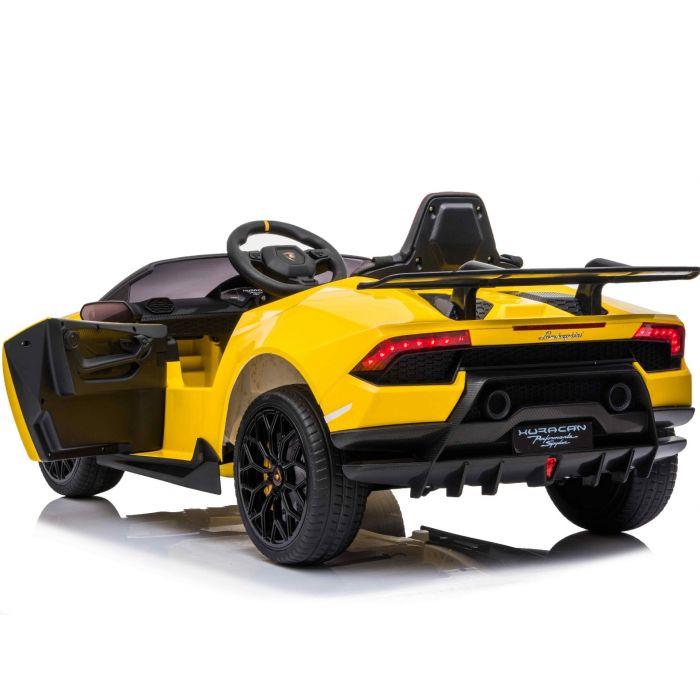 Masinuta electrica cu roti din cauciuc si scaun piele Lamborghini Huracan Yellow - 7