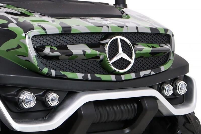 Masinuta electrica cu scaun de piele Mercedes Unimog Paint Army