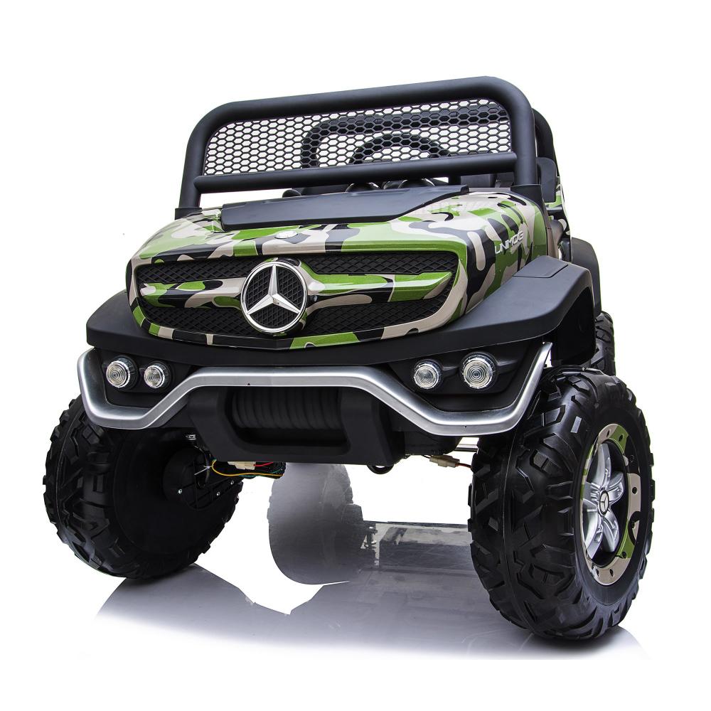 Masinuta electrica cu scaun de piele Mercedes Unimog Paint Army - 6
