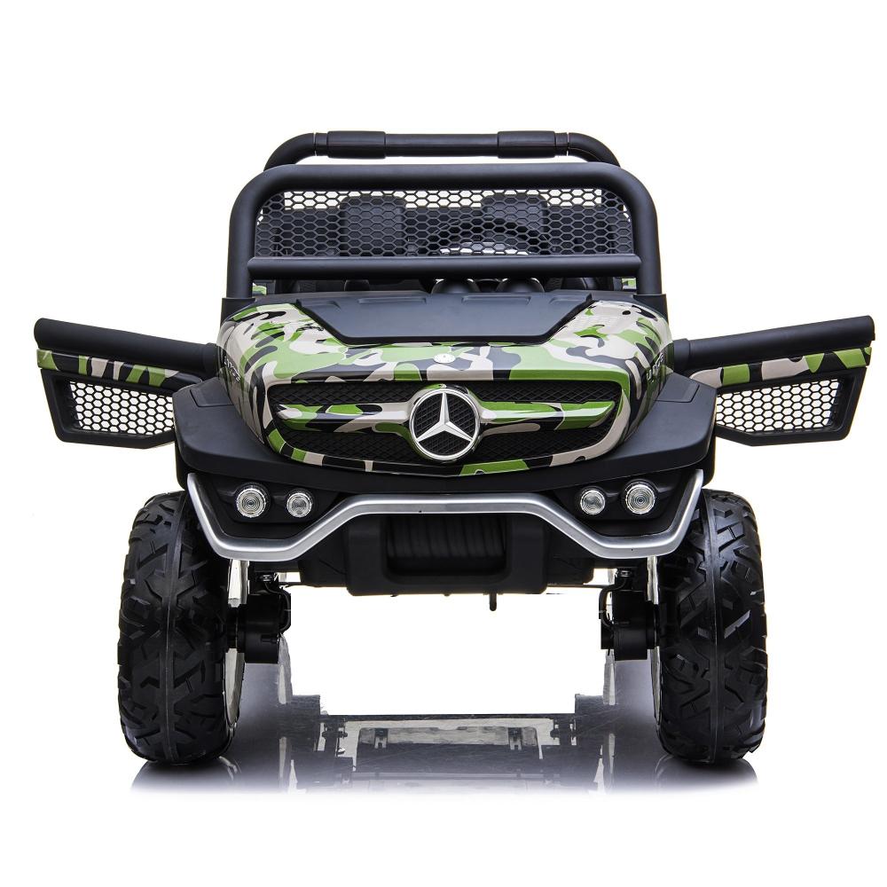 Masinuta electrica cu scaun de piele Mercedes Unimog Paint Army - 7