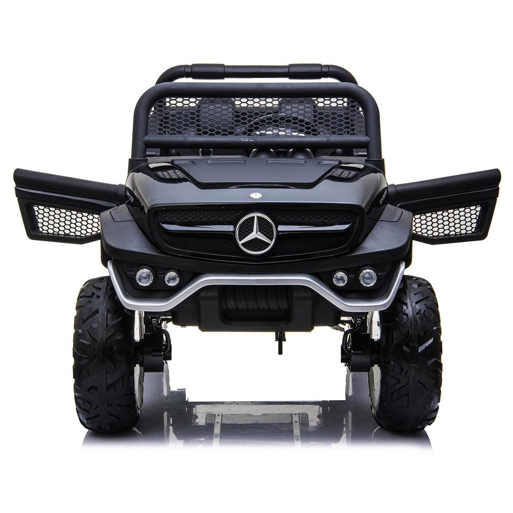 Masinuta electrica cu scaun de piele Mercedes Unimog Paint Black - 7