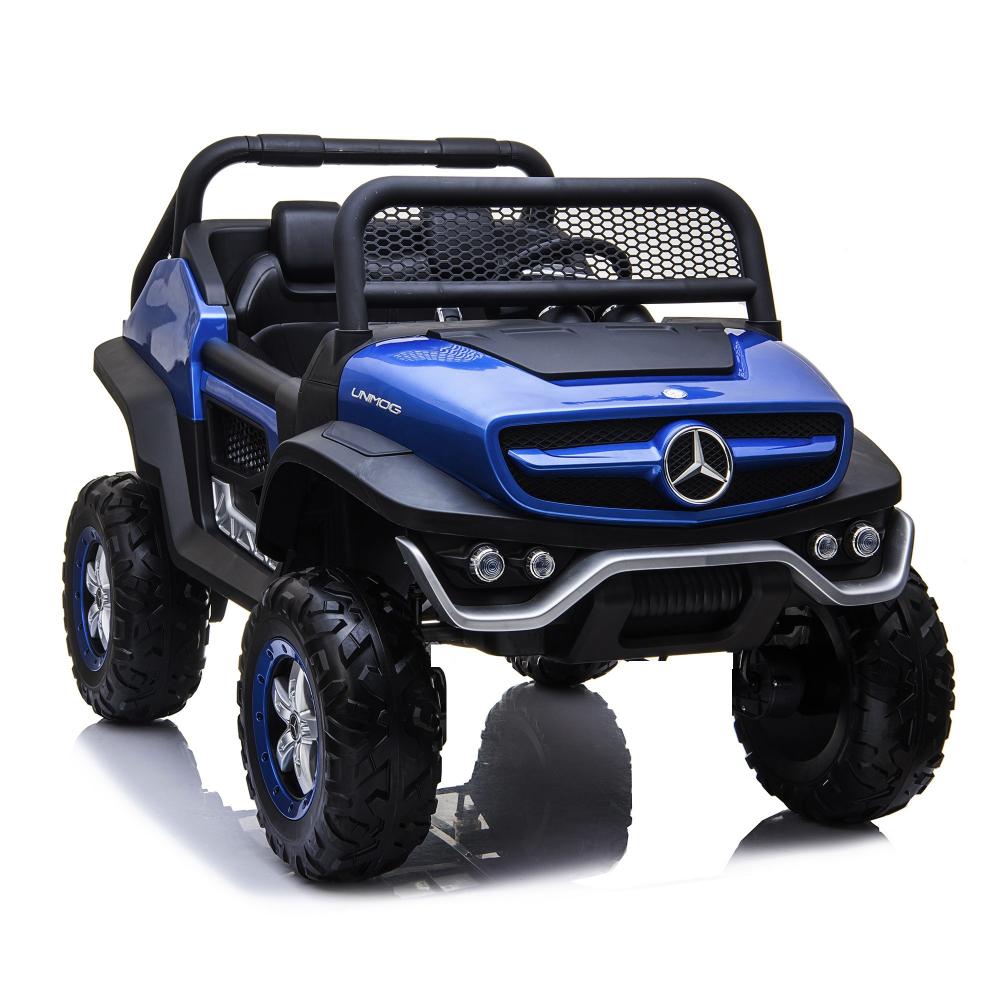 Masinuta electrica cu scaun de piele Mercedes Unimog Paint Blue image0
