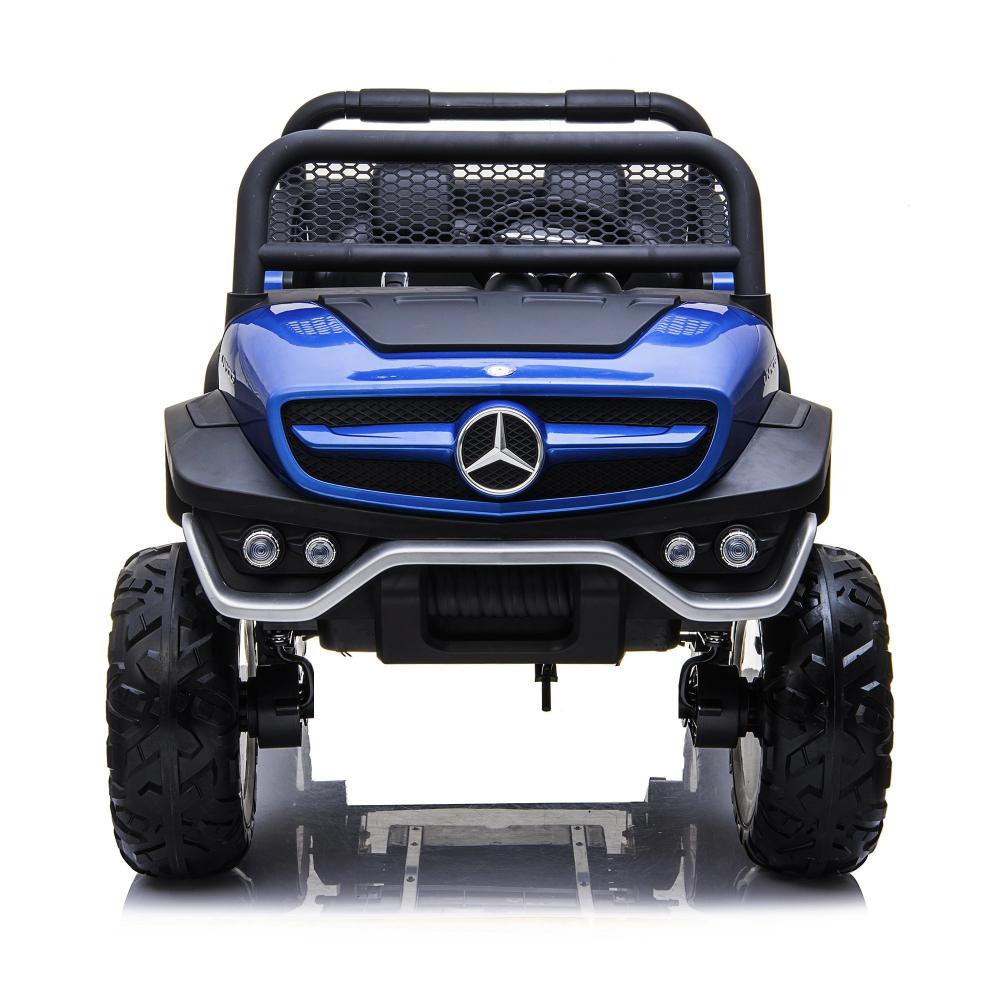 Masinuta electrica cu scaun de piele Mercedes Unimog Paint Blue - 6