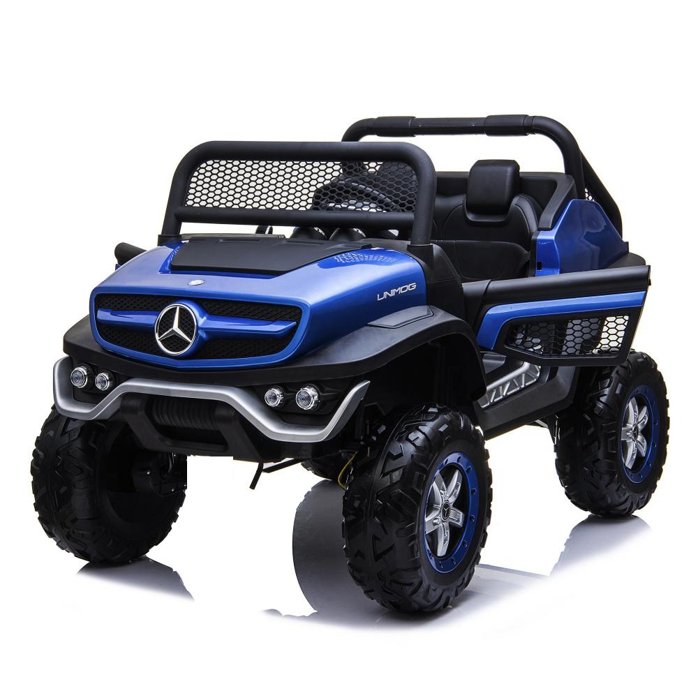 Masinuta electrica cu scaun de piele Mercedes Unimog Paint Blue - 8