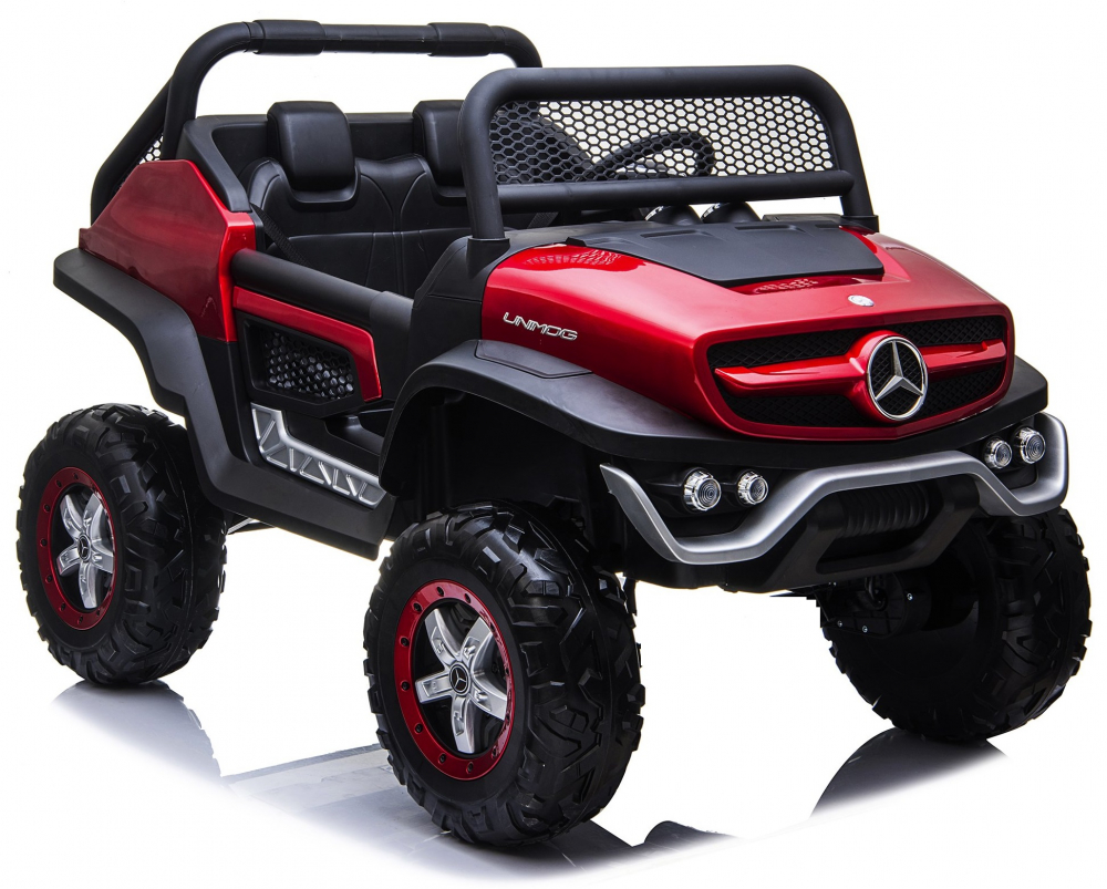Masinuta electrica cu scaun de piele Mercedes Unimog Paint Red
