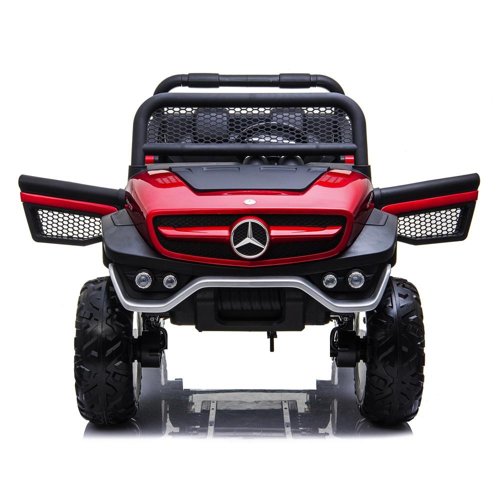 Masinuta electrica cu scaun de piele Mercedes Unimog Paint Red - 6