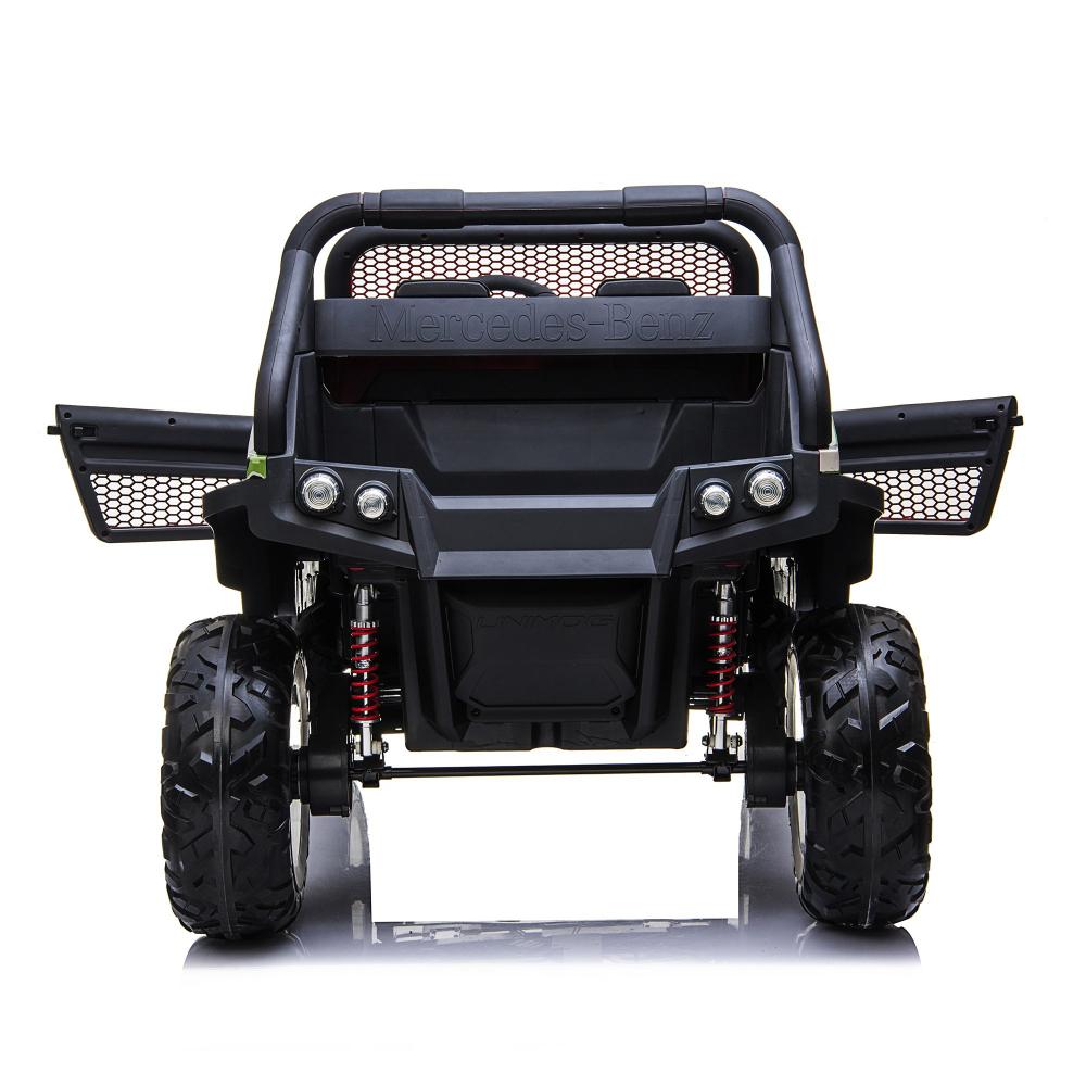 Masinuta electrica cu scaun de piele Mercedes Unimog Paint Red - 9