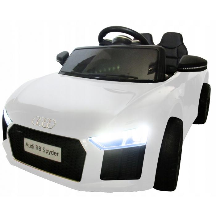 Masinuta electrica cu telecomanda, roti EVA si scaun piele Audi R8 R-Sport alb - 4