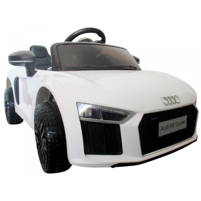 Masinuta electrica cu telecomanda, roti EVA si scaun piele Audi R8 R-Sport alb
