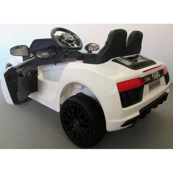 Masinuta electrica cu telecomanda, roti EVA si scaun piele Audi R8 R-Sport alb - 1