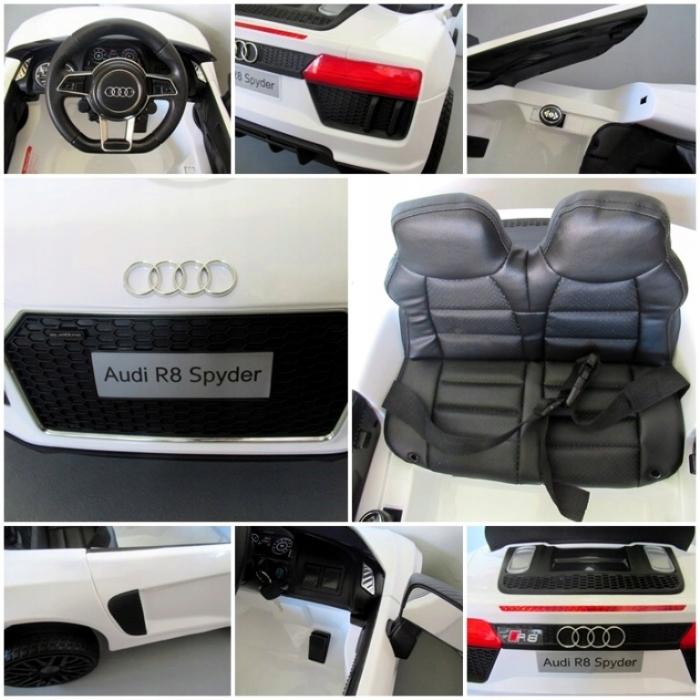 Masinuta electrica cu telecomanda, roti EVA si scaun piele Audi R8 R-Sport alb - 3