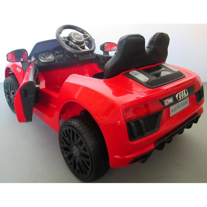 Masinuta electrica cu telecomanda, roti EVA si scaun piele Audi R8 R-Sport rosu - 1