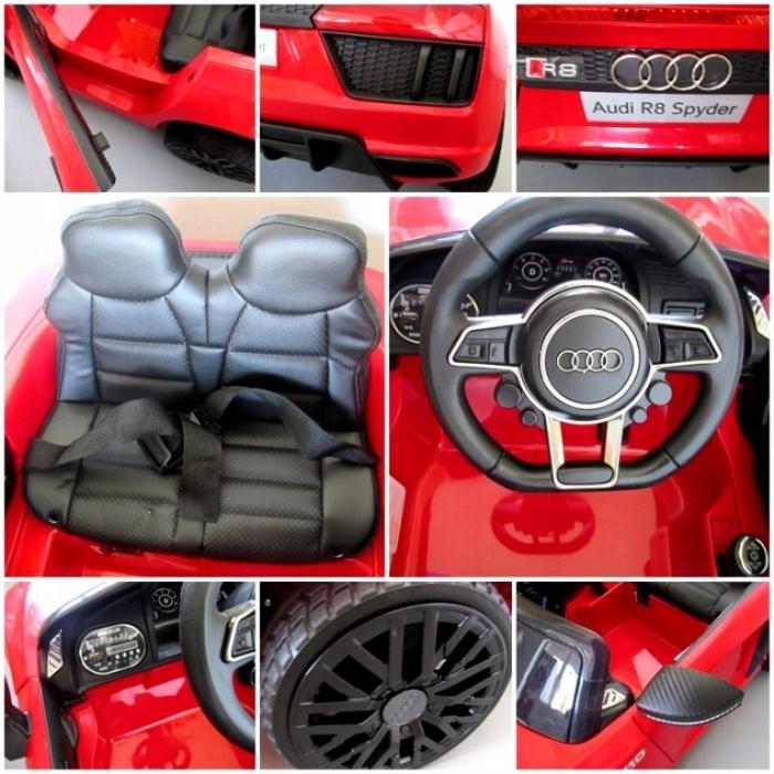 Masinuta electrica cu telecomanda, roti EVA si scaun piele Audi R8 R-Sport rosu - 2