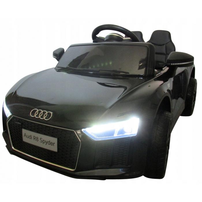 Masinuta electrica cu telecomanda, roti EVA si scaun piele Audi R8 R-Sport negru - 4