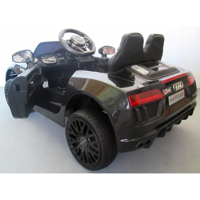 Masinuta electrica cu telecomanda, roti EVA si scaun piele Audi R8 R-Sport negru - 1