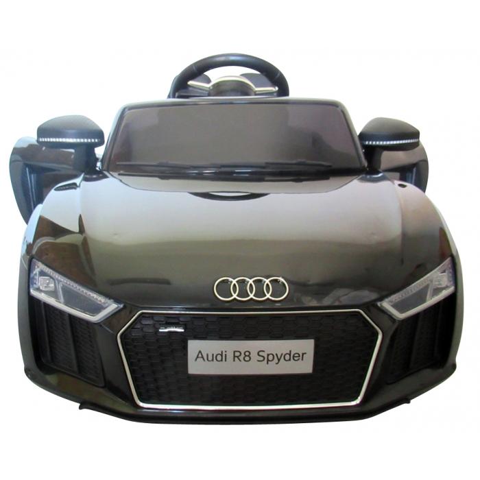 Masinuta electrica cu telecomanda, roti EVA si scaun piele Audi R8 R-Sport negru - 2
