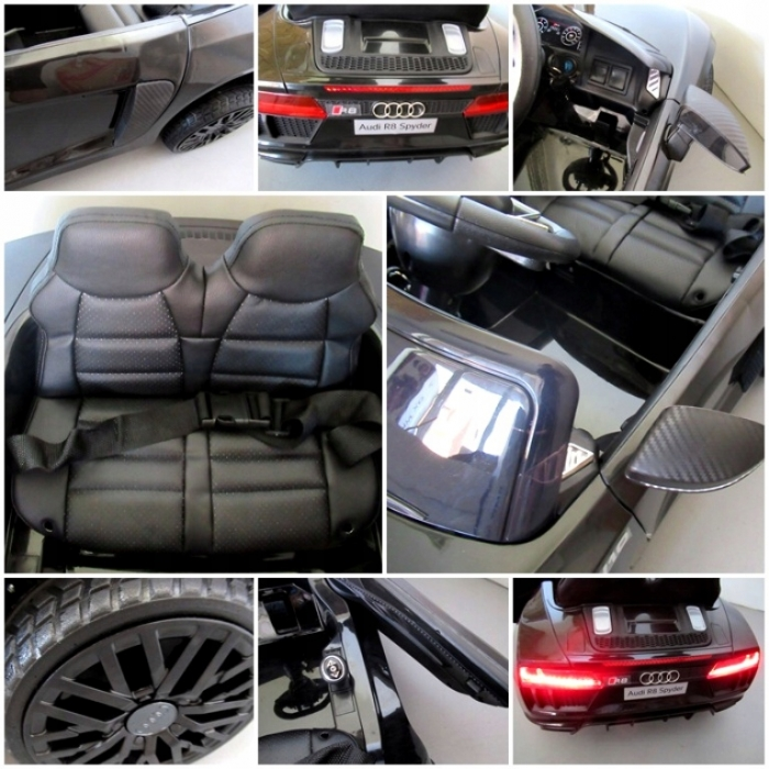 Masinuta electrica cu telecomanda, roti EVA si scaun piele Audi R8 R-Sport negru - 3
