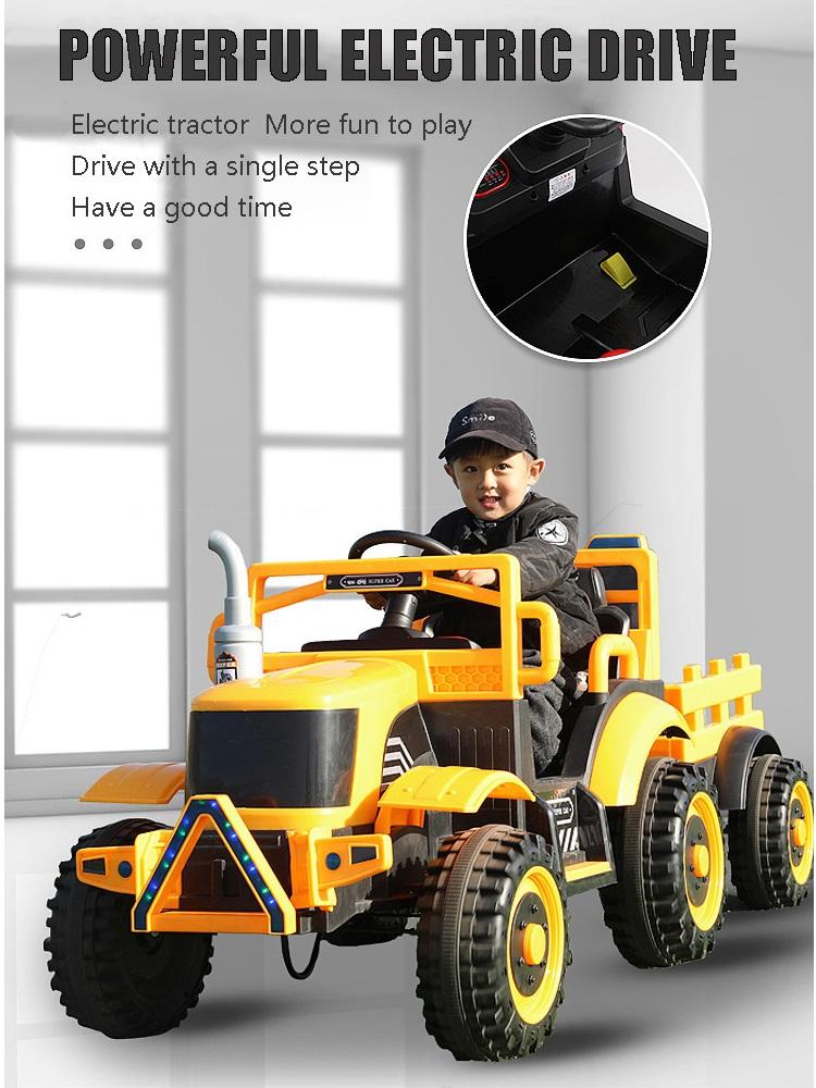 Tractor electric cu remorca si telecomanda Nichiduta Country Yellow - 1