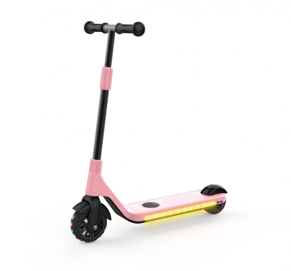 Trotineta electrica copii originala Gyroor roti 3.5 inch cu leduri lumini pink