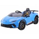 Masinuta electrica cu roti din cauciuc si scaun piele Lamborghini Huracan Blue